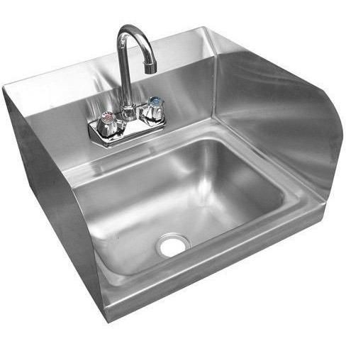 Stainless Steel Wall Mount Hand Sink 12 X 16 With Faucet Drain S Sink Steel Wall Faucet