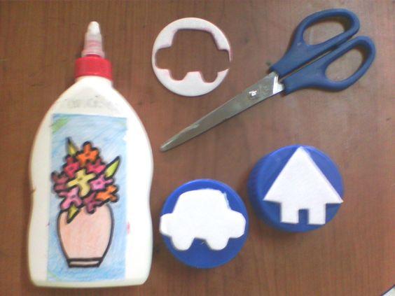 sellos con tapas de botellas