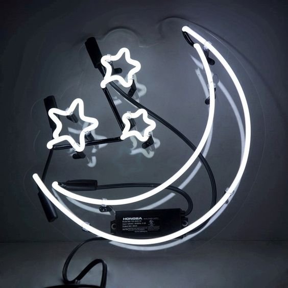 'Moon and Stars' Neon Sign ($320) ❤ liked on Polyvore featuring home, home decor, wall art, modern home accessories, neon signs, star wall art, star signs and neon home decor