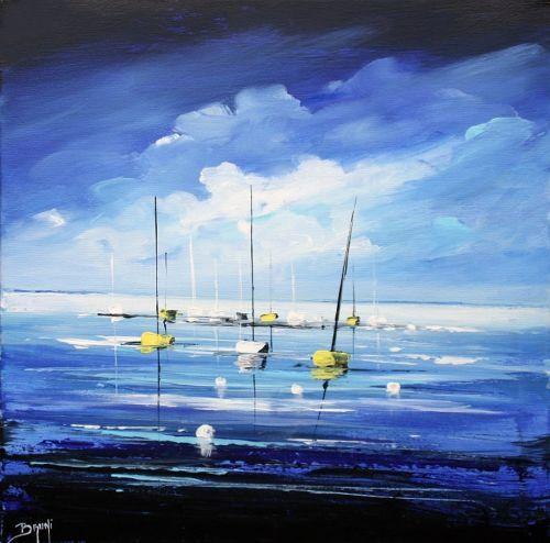 Tableau peinture au couteau signee bruni peintre cote drouot les bateaux galerie peinture de l - Cote d un artiste peintre ...