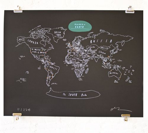 Created exclusively for the Royal We by Oliver Jeffers, this limited edition signed print is a hand drawn map of the world. The whole world. With pins. But it isn't to scale, because that would be very hard to ship. Screen printed in Brooklyn using white ink on black paper.  Each print comes with 52 pins, 50 are orange, 1 is red and 1 is blue. Red is for headquarters, blue if for your next target.