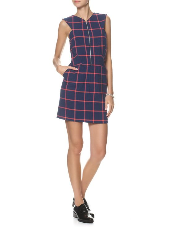 Navy Check Zip Front Dress | Thakoon Addition | Avenue32