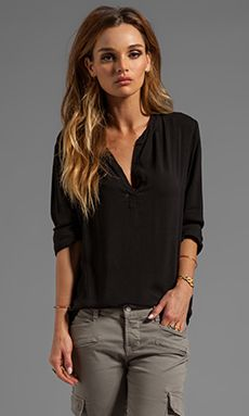 Velvet by Graham & Spencer Rosie Lux Slub Henly Long Sleeve in Black or Ophelia