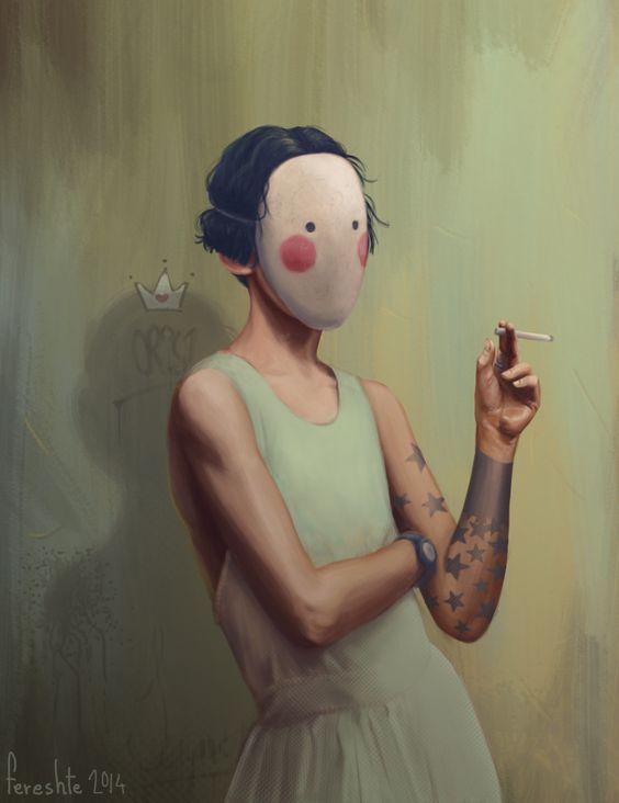 The Mask, Fereshte Poorkazem on ArtStation at https://www.artstation.com/artwork/AvRrN