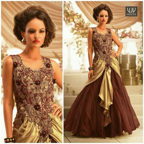 Buy Now @ http://goo.gl/Amnwld Amazing Beige and brown satin net designer gown designed with embroidery, stone, resham, zari, lace and patch border work. Product No VJV-SIGN1052 @ www.vjvfashions.com #gown #gowns #indianwear #indianwedding #fashion #fashions #trends #cultures #india #instagood #weddingwear #designer #ethnics #clothes #glamorous #indian #beautifulgown #beautiful #weddinggown #indiangown #partyweargown #vjvfashions #pretty #celebrity #bridal #designergown #style #stylish…