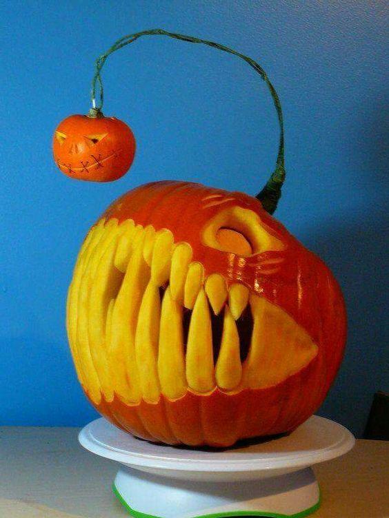Awesome pumpkin cut to mimic a lantern fish.