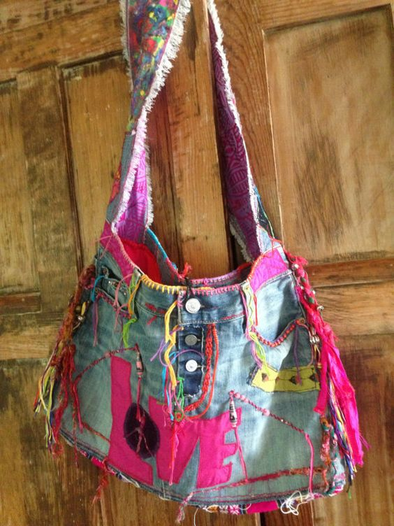 Love Peace Hippie Hobo Denim Bag  Disc by recycleinstead on Etsy