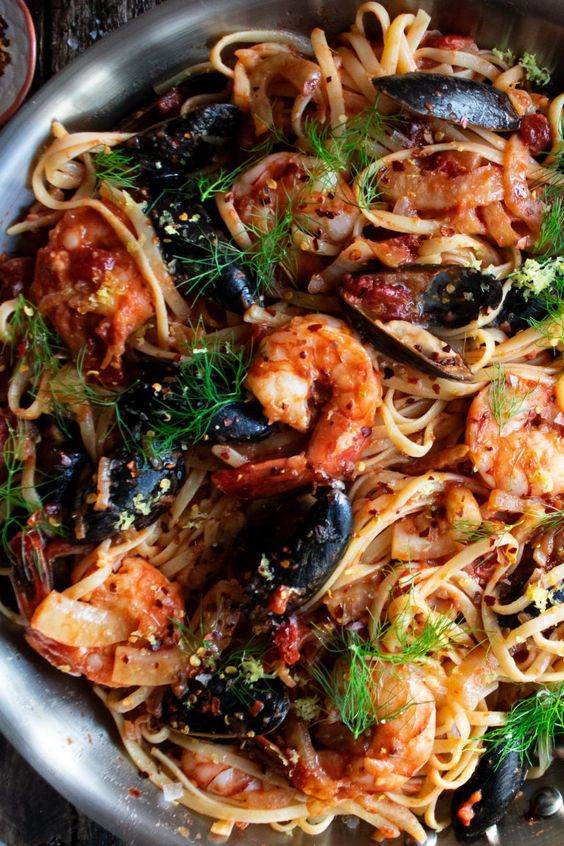 Spicy Tomato Seafood Pasta - The Original Dish