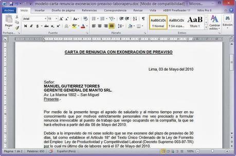 Descarga el modelo de carta de renuncia con exoneración de plazo (archivo word)