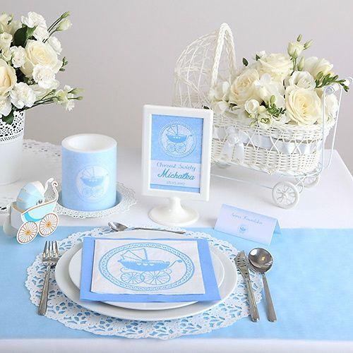 Tabliczka Na Stolik Chrzest Sw Blekitny Wozek Biala Ramka Baptism Party Place Card Holders Table Decorations