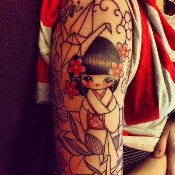 Start Of A Kokeshi Sleeve By Vicky Morgan At GhostHouse