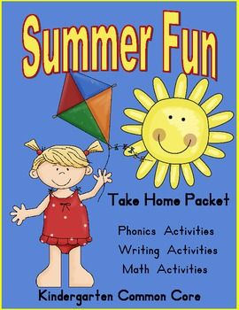 This is a summer take home packet full of activities for your kindergarteners.  It has phonics activities, story starters, math activities and a math journal.
