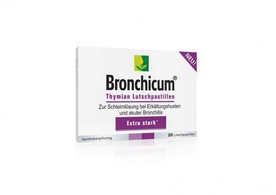 Neu auf dem Markt sind die apothekenpflichtigen Bronchicum Thymian Lutschpastillen. Diese Lutschpastillen sind rein pflanzlich und enthalten Thymianextrakte. Sie lösen bei Erkältungskrankheiten schnell den festsitzenden Schleim und beruhigen die gereizten Bronchien. Sie sind höher dosiert im Vergleich zu den Bronchicum® Thymian Lutschtabletten. Mehr darüber lesen auf Pharmawelt.