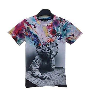 T-shirt à manches courtes, en coton imprimé décontractés pour hommes.