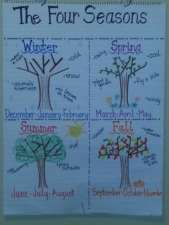 four seasons anchor chart anchor chart ideas pinterest. Black Bedroom Furniture Sets. Home Design Ideas