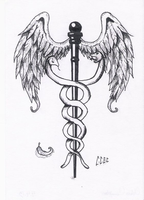 """My grandmother was in the hospital and she asked me to draw her this to give to her doctor and this is what came of """"Baby, can you draw me the medical staff with the snakes twisting around it for m..."""
