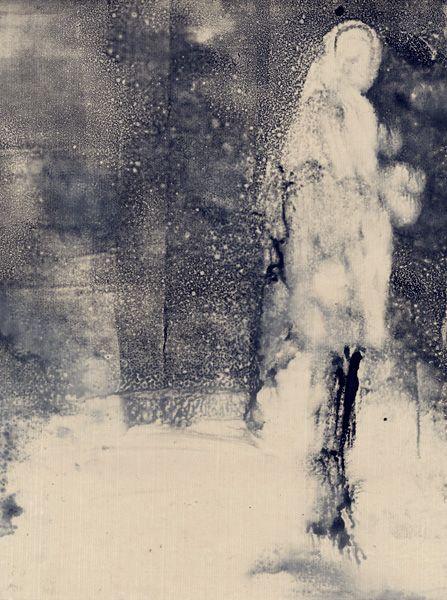Aurore de La Morinerie : rainwater silhouette.abstract contemporary watercolour painting portrait