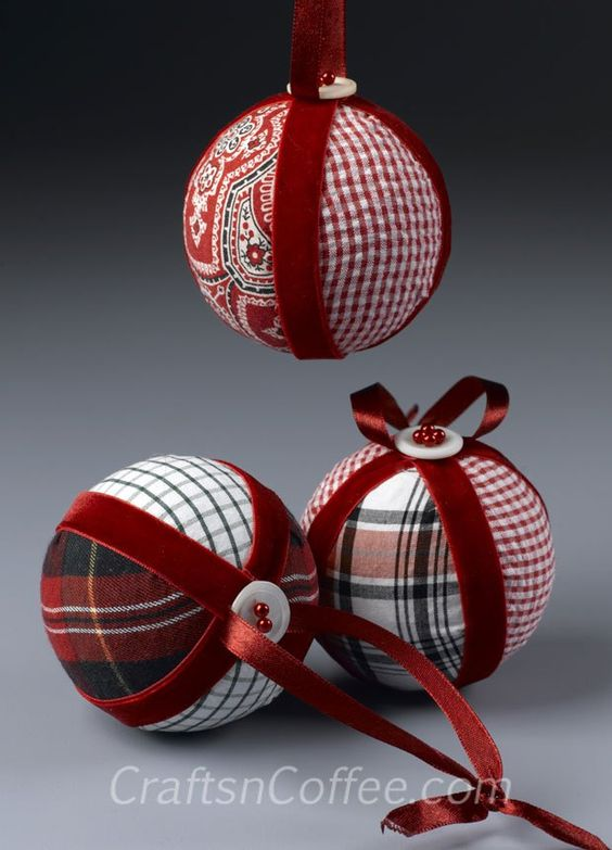 Easy Classic No-Sew DIY Christmas Ornaments made from upcycled shirts.