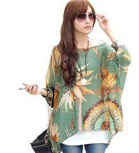 Women Casual Bohemian Shirts Summer Half Batwing Sleeve Floral Print Chiffon T-Shirts Loose Oversized Tops Blusas Free Shipping alishoppbrasil