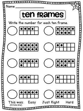 Free Worksheets » Ten Frame Activities For First Grade - Free Math ...