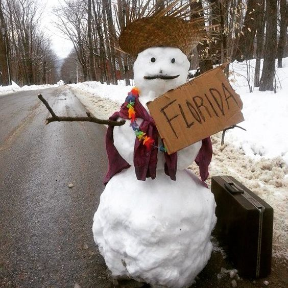This #snowman is headed to #florida He wants to be a #sandman Who wants to go with him? #colespools #snow #needsthebeach