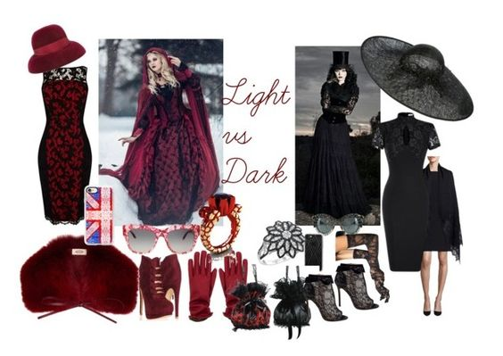 """Lace: Light vs Dark"" by bluehatter ❤ liked on Polyvore featuring Valentino, Karen Millen, Belle by Badgley Mischka, Tod's, Borsalino, Dolce&Gabbana, Leg Avenue, Biba, Casetify and LE VIAN"