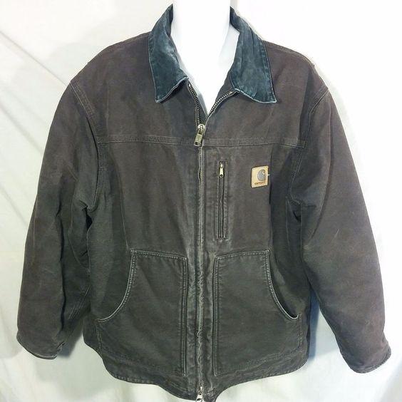 Mens CARHARTT Jacket Work Coat HEAVY DUTY Fleece Lined DUCK COTTON