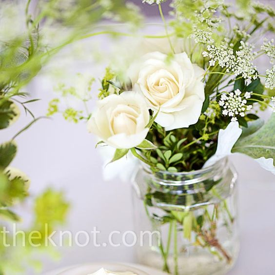 Green centerpieces and spray roses on pinterest
