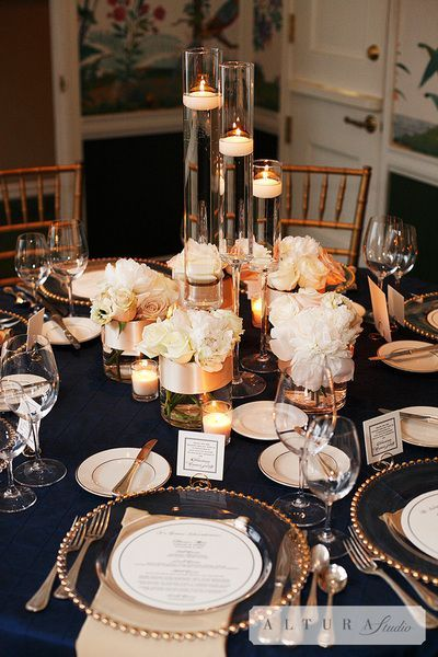 Heart rings centerpieces and midnight blue on pinterest for Midnight blue centerpieces