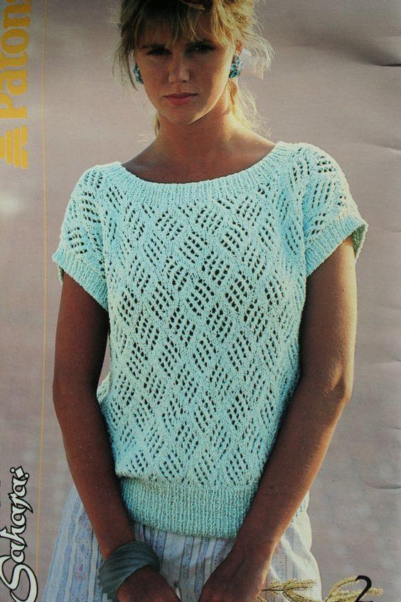 Cotton Cardigan Knitting Pattern : Sweater Knitting Patterns Summer Women Cotton Sahara Beehive Patons 484 Vinta...