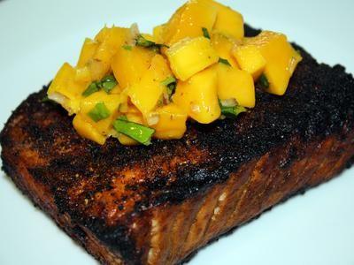 blackened salmon with mango salsa: Ingredients Blackened, Blackened Salmon, Easy Mango, Mango Salsa, Fishtastic Recipes, Mango Salmon