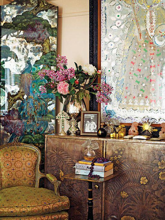 A corner of Gloria Vanderbilt's present day bedroom,NYC.
