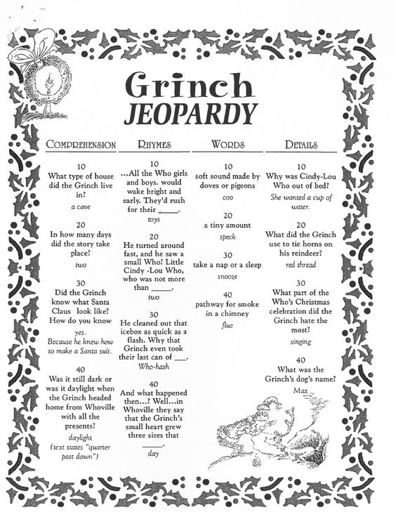 Grinch Jeopardy Activity From Konicki Right Click To Save  Nd