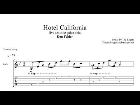Don Felder Hotel California Solo Tab Acoustic Guitar Tab