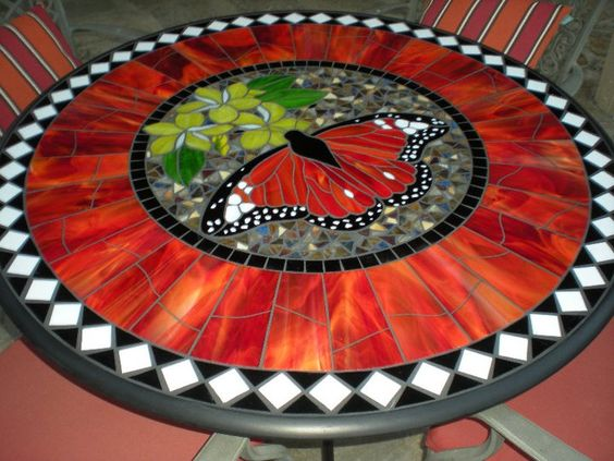 Glass mosaic patio table: