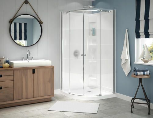 Maax Nero 38 Round Door And Base Shower Kit With 3 Stripe At