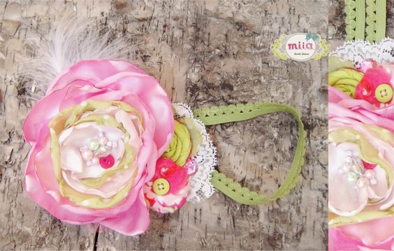 Headband in pink and white