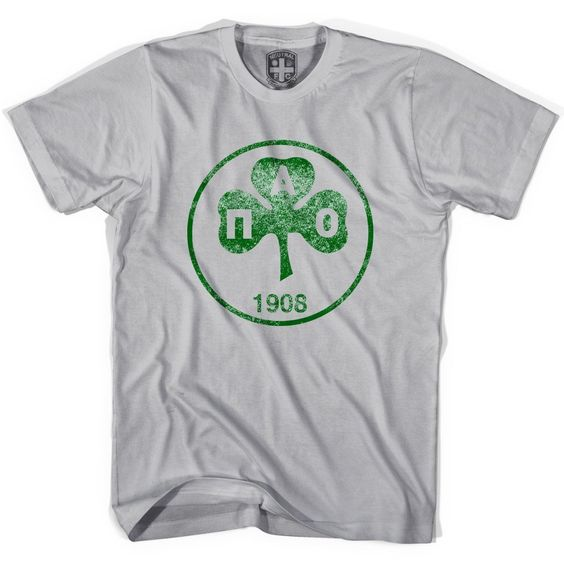 Panathinaikos Vintage Crest T-shirt, Cool Grey, X-Large. Printed In USA. Cotton.