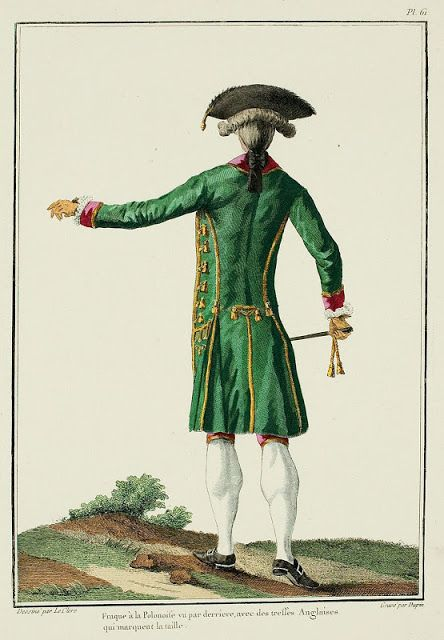 Galerie des Modes, 17e Cahier, 3e Figure  Polonaise frock-coat seen from the back, with English braids marking the shape. (1779)