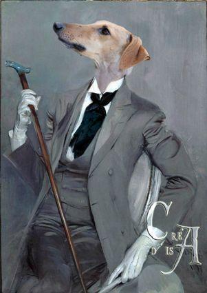 Plus classique, voici Snob, un lévrier qui s'est glissé avec délice dans ce costume sur mesure