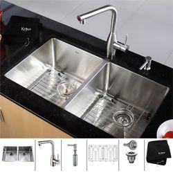 $719.95 on overstock Kraus Stainless Steel Undermount Kitchen Sink, Faucet and Dispenser 16 gauge