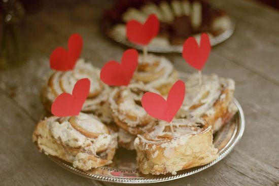 Cinnamon rolls and hearts.