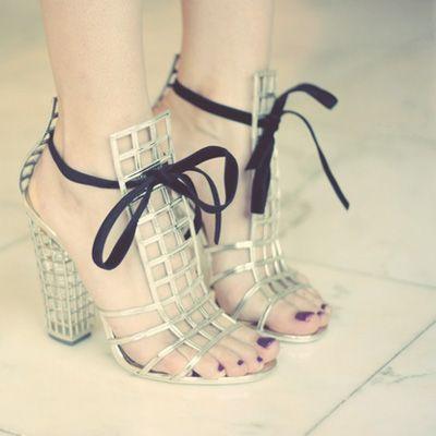 silver ysl cage heels