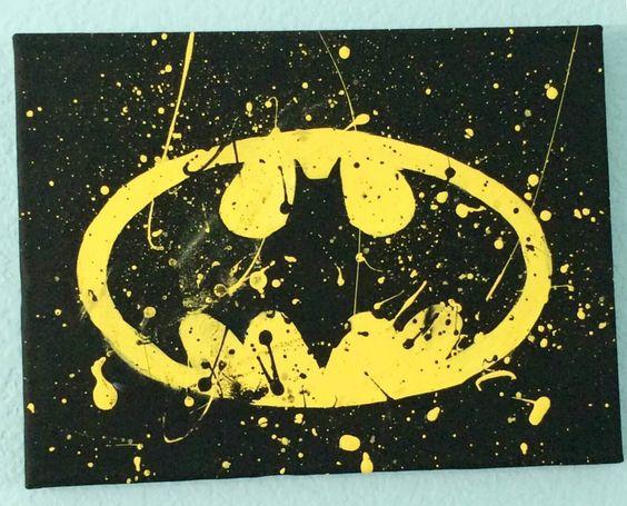 Batman canvas painting yellow black batman bat for Batman bedroom paint ideas