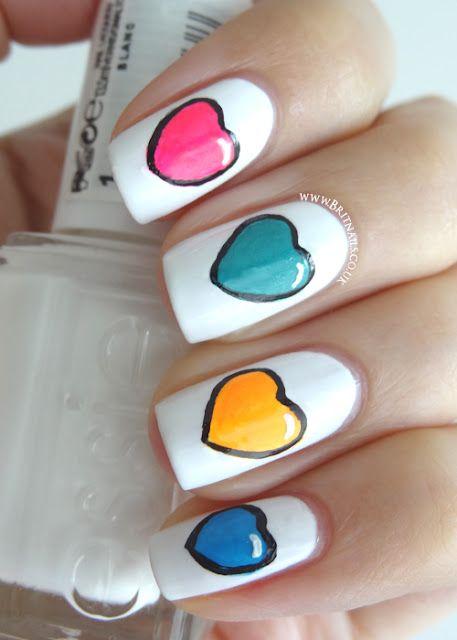 Brit Nails: Colourful Hearts