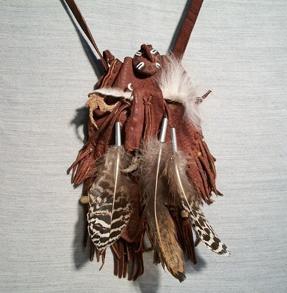 Amulet Pouch American Indian Style, Shaman's Bag, Leather and Feather and Fetish Medicine Pouch: