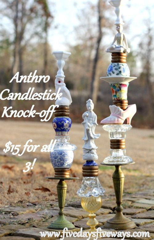 Anthropologie Trinket and Treasure Candlestick Knock-Off
