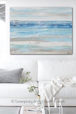Original Art Abstract Painting Textured Blue Aqua Mint White Grey Beige Beach Coastal Home Decor Wall Art 30x40 Modern Wall Art Canvas Texture Painting Seaside Paintings