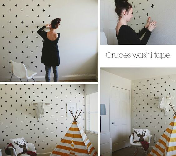 Diy c mo decorar paredes con washi tape y polka dots el for Paredes bonitas
