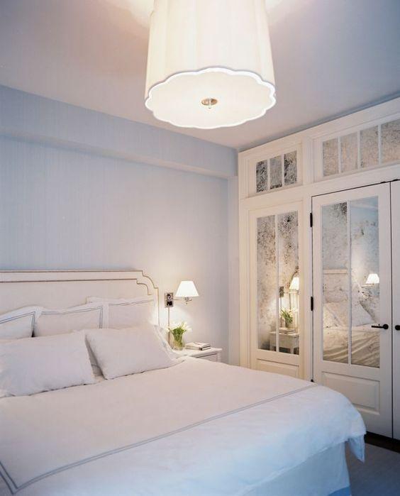 Mirrored windowpane closet doors: Guest Room, Small Room, Mirror Closet Door, Mirrored Closet Door, Small Bedroom, Master Bedroom, Light Fixture